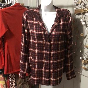 NWT Express red plaid blouse size XS